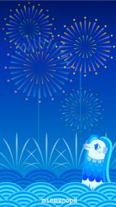 花火とアマビエ壁紙-iPhone5・5S・5C・SE向け