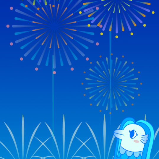 花火とアマビエチャレンジ-iPhone用壁紙のサムネイル